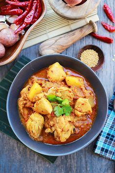 Devil's Curry - Whoa, that's good!!  Just substitute more fibrous vegetables for the chicken (cauliflower, sweet potatoes, broccoli, etc.) and it's vegetarian!