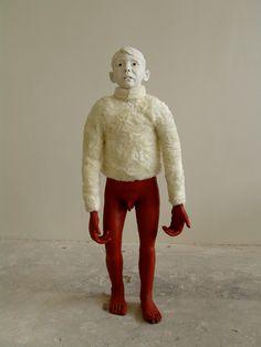 red - Ape-boy - figurative sculpture - ceramic - Mariette van der Ven