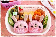 『ピンクうさぎツインズのおべんとう』 Japanese Lunch Box, Japanese Food, Amazing Food Art, Cute Bento, Sushi Art, Bento Recipes, Bento Box, Cute Food, Chara