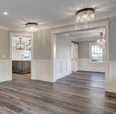 Gray walls wainscoting floor plank