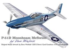 P-51D Mustang Moonbeam McSwine -  Paper Model Mockup Artwork by Dave Winfield - www.papermodelshop.com
