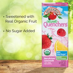 Refreshing and organic — two words we love!  Apple & Eve Organic Quenchers are sweetened with real organic fruit to provide a drink that is PUREly refreshing.