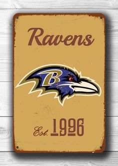Vintage style BALTIMORE RAVENS Sign, Baltimore Ravens Est. 1996 Composite Aluminum Baltimore Ravens Sign in team colors WORLDWIDE Shipping by FanZoneSigns on Etsy