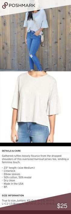Nordstrom Lush Ruffle Sleeve Tee. ⚡️ final sale This adorable casual tee will be one of your go-to tops all summer. Lightweight super soft fabric. Light grey in color. This top looks amazing with jeans, shorts, and leggings. Please read product information and features in picture. Worn once, like new. No signs of wear. NO HOLDS OR TRADES. Tops