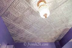 How to cover a popcorn ceiling by installing faux tin (styrofoam!): No scraping, no nails, no tin snips Styrofoam Ceiling Tiles, Drop Ceiling Tiles, Faux Tin Ceiling Tiles, Gold Ceiling, Ceiling Plan, Ceiling Ideas, Styrofoam Art, Dropped Ceiling, Mosaic Tile Sheets