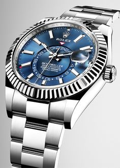 Introducing the new Sky-Dweller in a white Rolesor version, with a blue sunray finish dial and an Oyster bracelet.