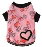 Featuring cool pink Tattoo print thermal, a studded double pink and  black felt heart appliqué, your party pooch will be ready to rock out in  the Ruff Ruff Couture® Love & Rock Tee. Proudly made in the U.S.A.