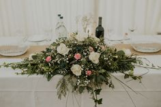 Top Table Flowers Floral Foliage Runner Rustic Country Fun Autumn Farm Wedding http://natalyjphotography.com/