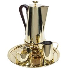 Tommi Parzinger Brass Coffee Service | From a unique collection of antique and modern serving pieces at http://www.1stdibs.com/furniture/dining-entertaining/serving-pieces/