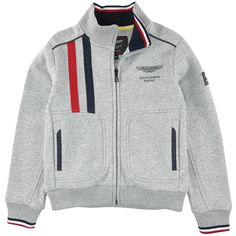 Sweat zippé en molleton gris clair chiné - 97435