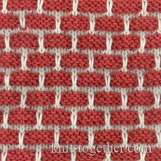 Two-Color Bricks Pattern. How to knit stitch pattern and knitting pattern chart, color knitting stitch pattern Mosaic Knitting, Knitting Stiches, Crochet Stitches Patterns, Knitting Charts, Loom Knitting, Knitting Patterns Free, Stitch Patterns, Free Pattern, Knit Basket