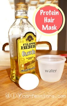 Hair mask.  1 Tablespoon Olive Oil  1 Egg Yolk  1 Cup WARM Water  Freshly washed, detangled and pat dry extra moisture in hair.  Mix ingredients tog and apply to hair (best to use a bottle with small tip opening) until evenly distributed evenly.  Use comb to make mask even.  Let sit 30 minutes.  Rinse with warm water, shampoo and condition as normal.