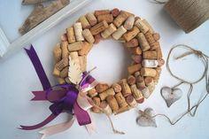 Wianek z korków od wina z fioletową wstążką - Arborea-dekoracje - Dodatki do domu
