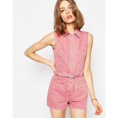 ASOS Denim Braid Waist Romper (4,125 INR) ❤ liked on Polyvore featuring jumpsuits, rompers, pink, denim rompers, red romper, asos rompers, tall romper and pink romper