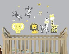 Mini Jungle Wall Decal for Nursery in Pink & Gray with Expedition Monkeys, Elephant and Lion
