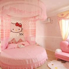 Contemporary and unique girls bedroom design ideas with hello kitty bedroom themes and hello kitty girls room style, full girls bedroom in hello kitty themes with modern kitty furniture and accessories Cama Da Hello Kitty, Chat Hello Kitty, Hello Kitty Items, Hallo Kitty, Hello Kitty Accessories, Cat Bedroom, Girls Bedroom, Bedroom Stuff, Bedroom Decor