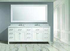 London 84″ Double Sink Vanity Set in White Finish | Design Element