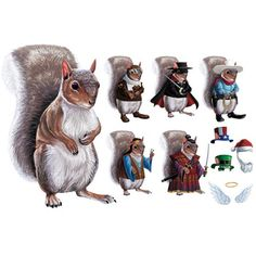 Dress-Up Squirrel Magnets