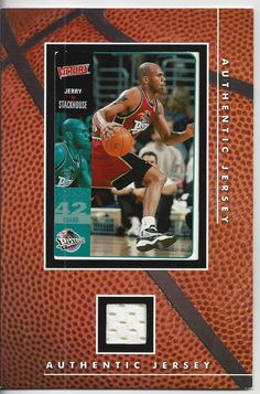 jerry stackhouse fleer  vintage authentic jersey card from  6.7 79b164ebe