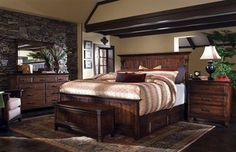 Kincaid Furniture Rosecroft Somerton Panel Bedroom Set, Warm Brown