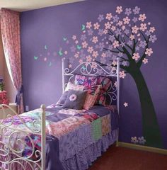 Cute tree decal and color for girls room. Still girly without being pink or to colorful. Relaxing and good for a hyper active (ADHD) child.  G;)