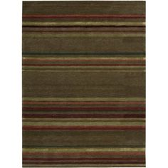 Amazon.com: Nourison Mystique Beige Abstract 5.6-Feet by 7.4-Feet 100-Percent Wool Area Rug $203.37    Pros: Cheap, wool, brings in living, dining,  fireplace, and hall colors    Cons: Small, dull main color