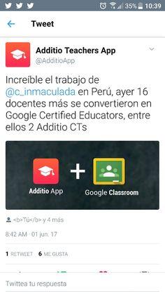 Agradecido con +Additio App de España, por la publicación en Twitter. Estamos muy contentos y vamos por más... #Inmaculada #GEGjesuitasPerú #Google #GCE1 #RetoGoogle #TrainingCI #CInnova