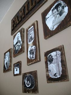black and white pictures on wood scraps - not sure I'd be able to do all the sanding and distressing she does though