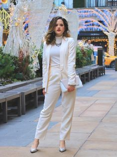 A forum for inspiring style ideas and fashionable looks created by Kathleen Harper, fashion enthusiast. Sparkly Pumps, Glitter Heels, Tarteist Lip Paint, White Suits, Shades Of White, All White, Perfect Party, Holiday Outfits, Winter White