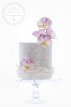 """""""Soft Soul"""" cake created for my grandma's 90th birthday. With sugar pansies."""