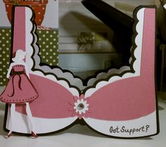Bra shaped breast cancer card. Will go with SU Pink Ribbon Stamp. Good for fundraising Projects