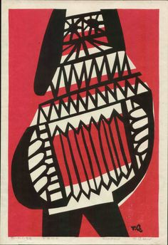 Takeji Asano Japanese Woodblock Print - Accordionist 1971