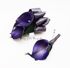 This listing is for a set with one wrist corsage and one boutonniere. This royal purple Real Touch Picasso calla lily boutonniere stem is wrapped in charcoal satin ribbon. The boutonniere is accompani                                                                                                                                                                                 More