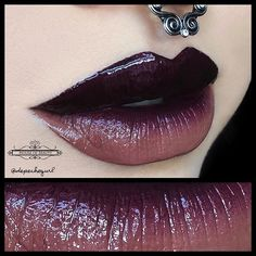 @houseofbeauty.co Midnight and Bambi Lip Gloss. Loving this color combo! @lotusandco Faux Septum Ring.