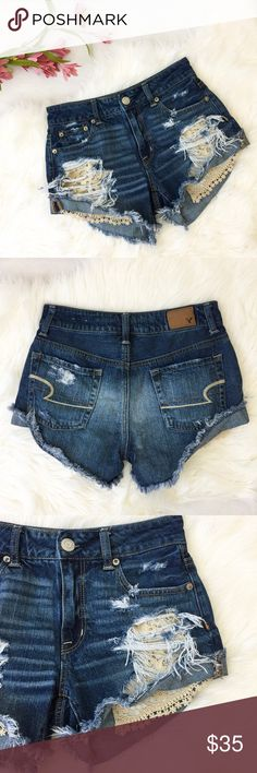 """American Eagle • Lace Cut Offs AEO denim cut offs with lace pockets • Perfect summer short with Birks and a crop top // waist 27"""" / front rise 9"""" (higher waisted) / hips 36"""" // 100% Cotton // Excellent condition!!! American Eagle Outfitters Shorts Jean Shorts"""
