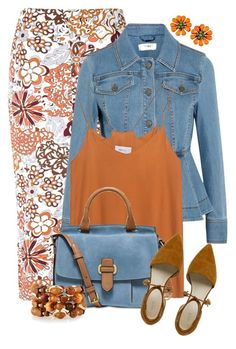 """Orange & Denim"" by feelgood35 ❤ liked on Polyvore featuring Glamorous, Fendi, MICHAEL Michael Kors and Emily & Ashley"