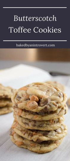 This easy Butterscotch Toffee Cookies recipe may be the best flavor of cookies you've ever tasted. They are simple enough to whip up anytime you're in the mood for a wonderful treat. via @introvertbaker