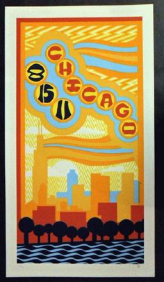 Original silkscreen concert poster for Phish in Chicago, IL in 2011. It is printed on Watercolor Paper with Acrylic Inks and measures around 12 x 22.  Print is signed and numbered out of 200 by the artist Tripp.