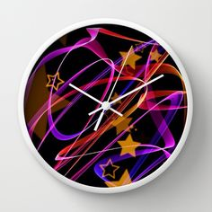 Flame Art with Stars Wall Clock