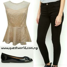 Lace Peplum Top size 6 8 #3500 Jeans size 6 #6000 Black PU ballet bow pumps size 39 40 #7000 www.questworld.com.ng Pay on delivery in Lagos Nationwide Delivery
