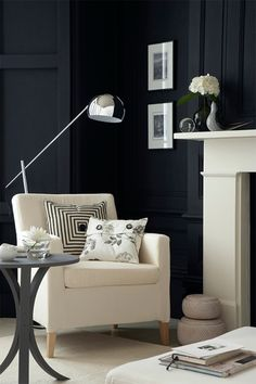 DesigningLuxury.com: Interior Photography--love the black wall and the stark contrast it provides