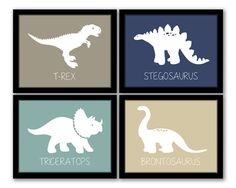 INSTANT DOWNLOAD, Dinosaur Wall Art, Set of 4, Nursery Art, Kids Art, Boys Room, Dinosaur Art, Playroom, Printable Wall Art, Modern Baby Art on Etsy, $16.00