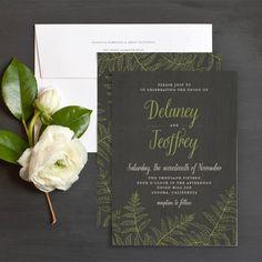 Woodsy Ferns Wedding Invitations by Emily Crawford   Elli