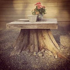 Wood is a natural material that can make our home and garden aesthetically pleasing. Besides, it can give warmth in the area as well.We are talking about a special tree stump table, which allows you to add more character to every garden design.Tree s Outdoor Projects, Garden Projects, Tree Stump Table, Tree Bench, Log Furniture, Tree Stump Furniture, Furniture Buyers, Furniture Ideas, Tree Trunks