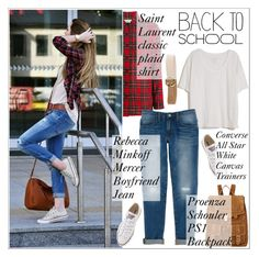 """""""Back To School"""" by sabinakopic ❤ liked on Polyvore featuring Fine Collection, Yves Saint Laurent, Rebecca Minkoff, Hermès, Proenza Schouler, Converse, BackToSchool and polyvoreset"""