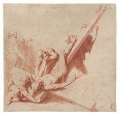 «La Crucifixión de San Pedro», deJosé de Ribera. Pincel, tinta roja sobre sanguina, mediados de 1620