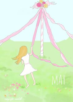 Childrens Art - May- May Pole - Monthly Art for Childrens Room -   Art Print - 5x7 on Etsy, $20.00