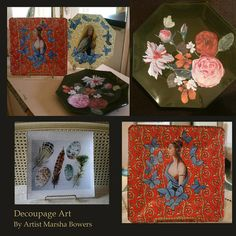 Glass decoupage art by artist Marsha Bowers of Zulim Bowers Designs. All artwork used to create these pieces were painted by the artist.