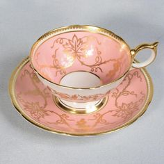 AYNSLEY TEACUP & SAUCER - PINK/WHITE DECORATED WITH GILDED GRAPES & VINES | Pottery & Glass, Pottery & China, China & Dinnerware | eBay!