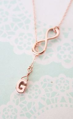 Rose Gold Initial and Infinity Lariat Y Necklace